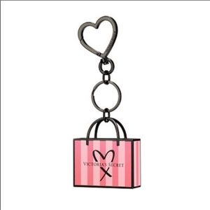 Victoria's Secret stripe metal tote keychain